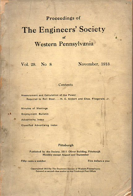 Proceedings of the Engineers' Society of Western Pennsylvania. H. C. And Chas. Fitzgerald Jr Siebert.